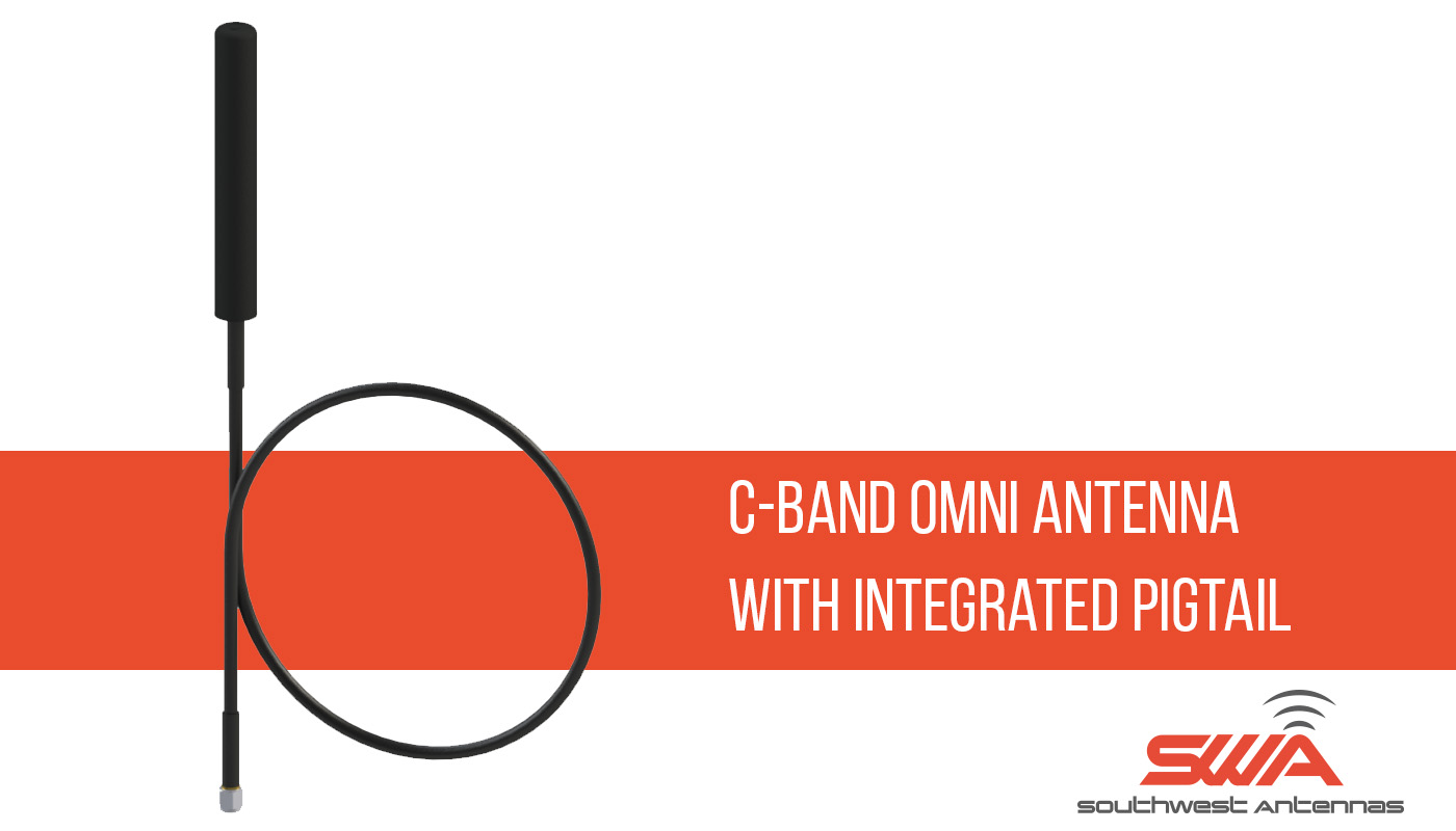 C-Band omni-directional antenna with integrated pigtail and RF connector, 4.4 - 5.9 GHz