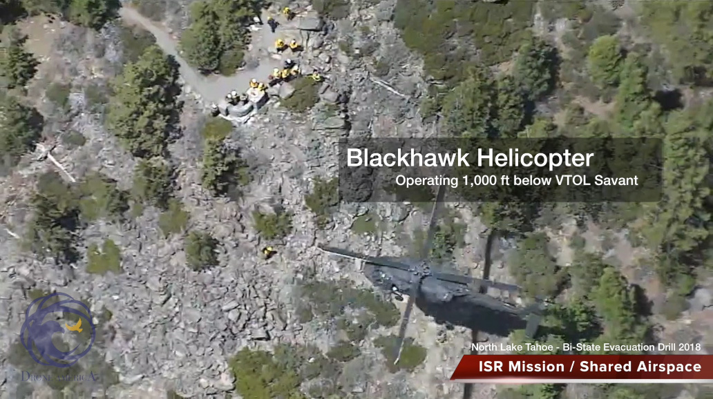 Blackhawk helicopter sharing airspace with Savant UAV