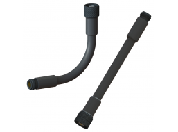 """RF Coaxial Gooseneck Assembly, 7.0"""" Length, 0.5"""" OD, Type-N(m) Non-Rotating to Type-N(f) RF Connectors"""