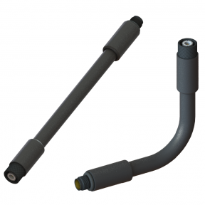 """RF Coaxial Gooseneck Assembly, 8.0"""" Length, 0.47"""" OD, TNC(m) Non-Rotating to TNC(f) RF Connectors"""
