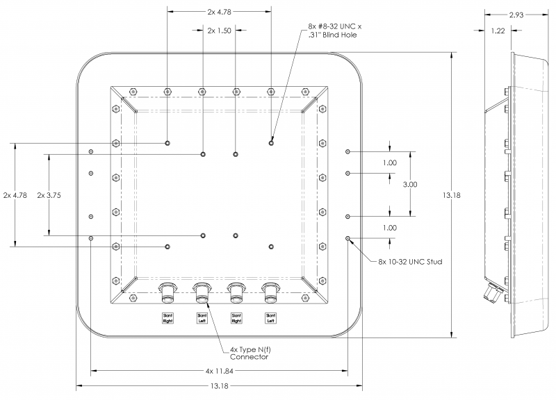 4X4 MIMO 64° Sector Antenna, Slant L/R Polarized, 1 7 - 2 5 GHz, 9 8