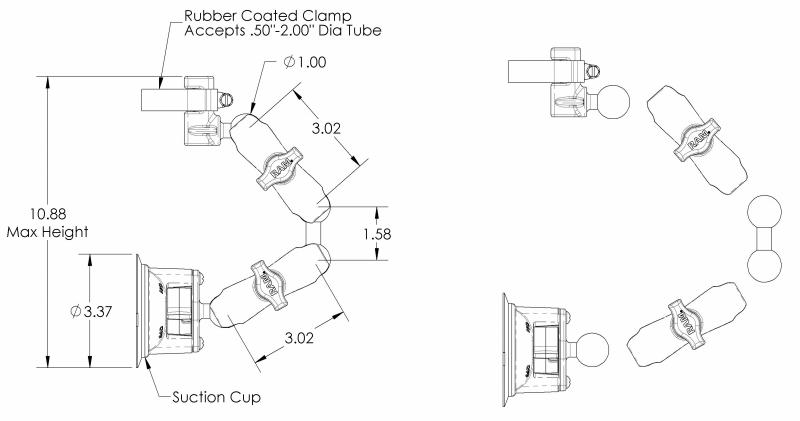 Window Mounting Kit, Suction Cup Mount, FAA Approved, For