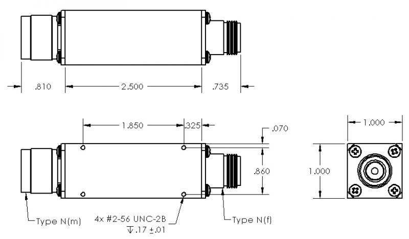 Band Pass Filter, 2,200 - 2,300 Mhz, In-Line   Southwest Antennas