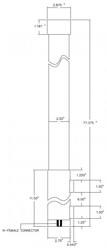 Omni Antenna 2 Section Collinear Dipole 118